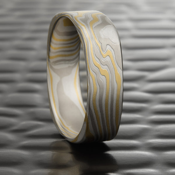 Mokume Gane 6mm Square Men's Wood Grain Ring with 14K Yellow Gold, 14K White Gold and Sterling Silver  |  TERRA