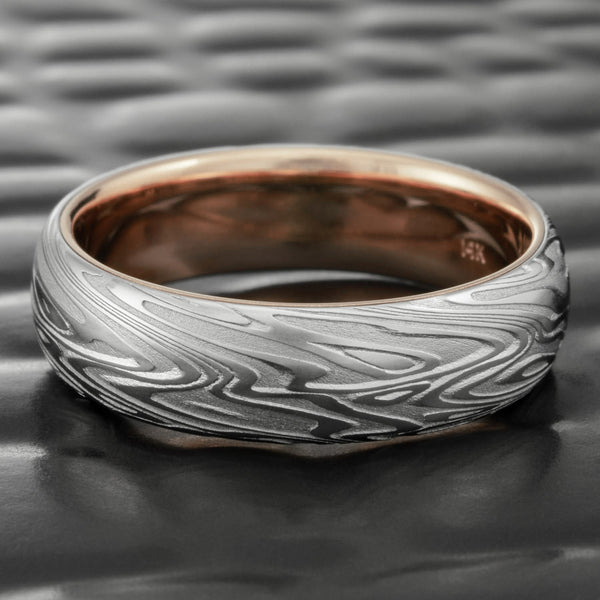 Damascus Steel Domed 6mm Wide Band with 14K Rose Gold Liner  |  ORGANIC WOOD