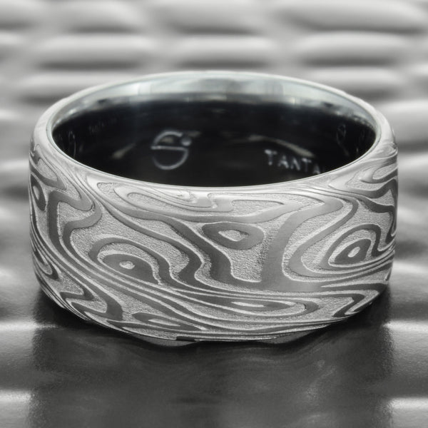 Damascus Steel Flat 9mm Wide Wedding Band with Tantalum Liner  |  ORGANIC WOOD