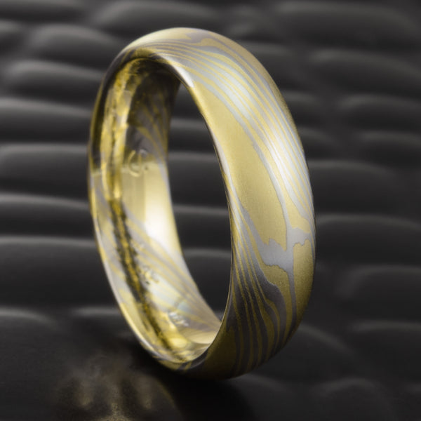 Men's 6mm 18K Gold & Platinum Mokume Wedding Band  |  CLASSIC STAR