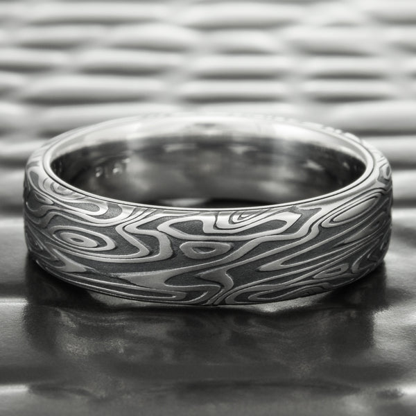 Damascus Steel Flat 6mm Wide Band with Fire Oxide Finish & Platinum Liner  |  STAR