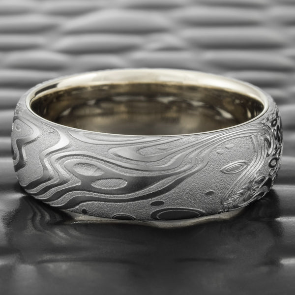 Damascus Steel Domed Men's 8mm Wedding Band with 14K White Gold Liner  |  TIDEPOOLS
