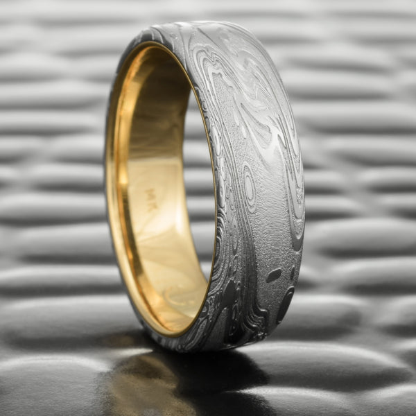 Damascus Steel Flat 7mm Wedding Band with 14K Yellow Gold Liner  |  TIDEPOOLS