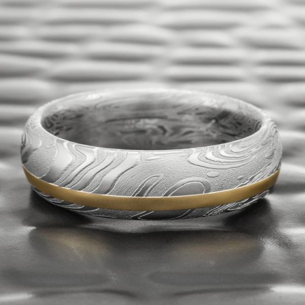 Damascus Steel 7mm Wide Ring with Offset Gold Inlay | TIDEPOOLS