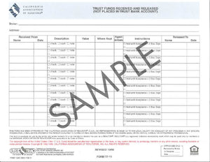 Form TF, Trust Fund Received & Released (Not Placed In Trust Bank Acct.)
