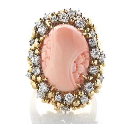 Vintage Coral Cocktail Ring