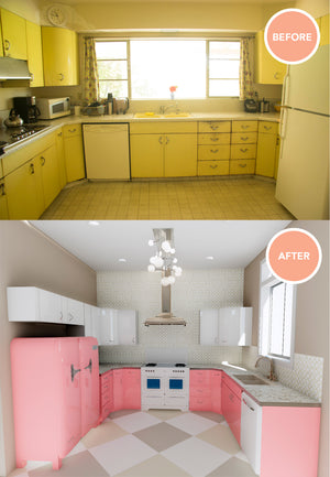 Before and after restoration of 1950s steel cabinetry