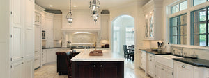 Custom Traditional White Kitchen Cabinetry with Farmhouse Sink