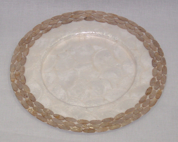 (CA) Natural Capiz Shell Charger Plate with Copper Oval Design - Handmade! CPL204122S/N-T