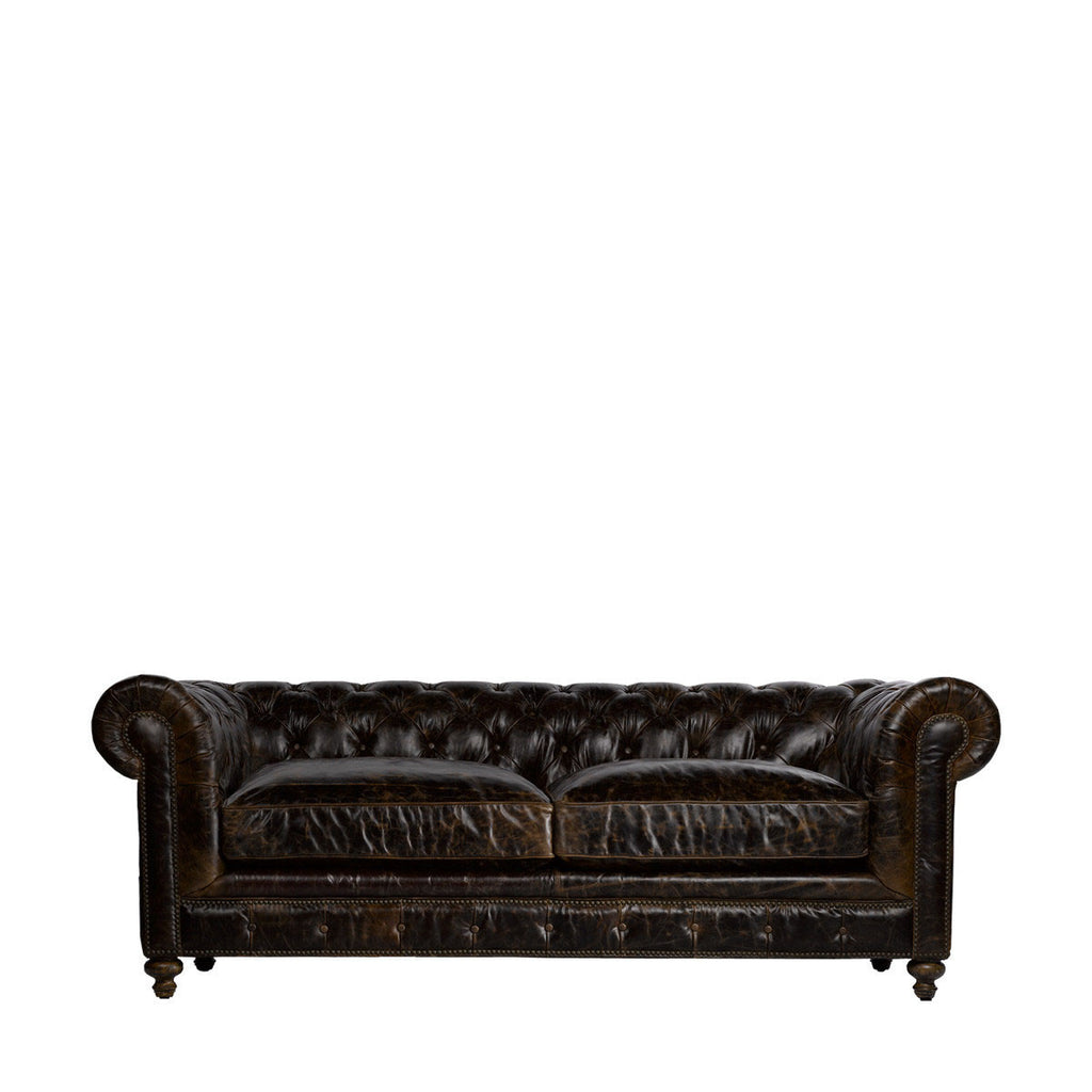 "Curations Limited 90"" Cigar Club Leather Sofa"