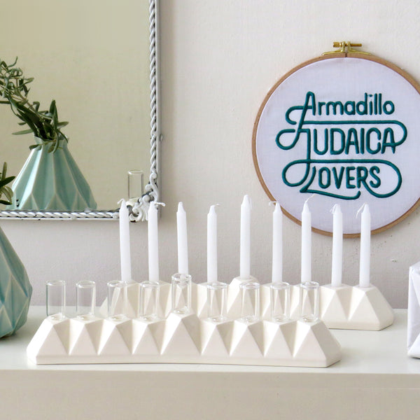 modern menorah for oil or wax candles