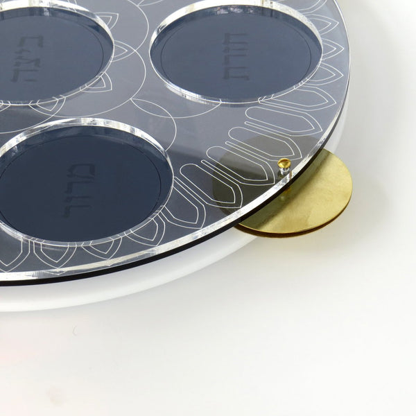 Modern Seder Plate - Inspired by Miriam's Tambourine. Acrylic Tray with Hebrew Words Engraved, Brass Cymbals, 6 Glass Bowls | New release - Short term pre sale
