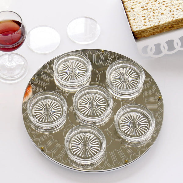 modern passover seder plate made of acrylic with geometric pattern