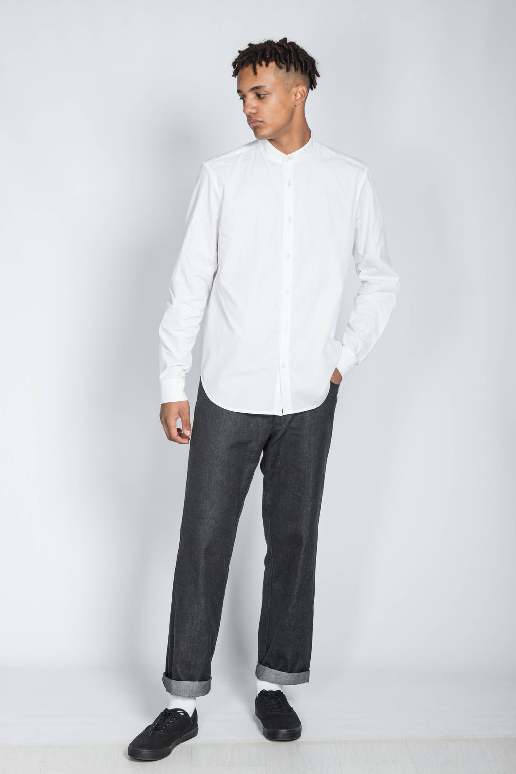 Organic White Long Sleeve Shirt with Grandad Collar