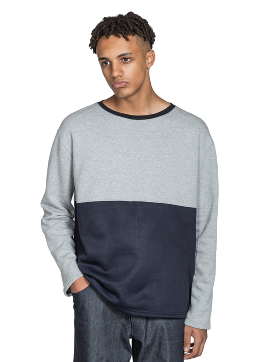Grey and Black Colour Block Sweatshirt