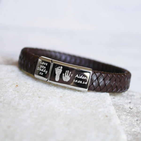 Mens Leather Handprint Bracelet