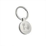 Engraved round personalised handprint keyring