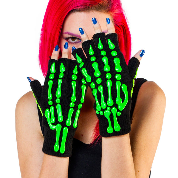 COUCHUK - UV REACTIVE - HAND PAINTED GLOVES SKELETON  green - Clubwear - PLUR - Rave clothing