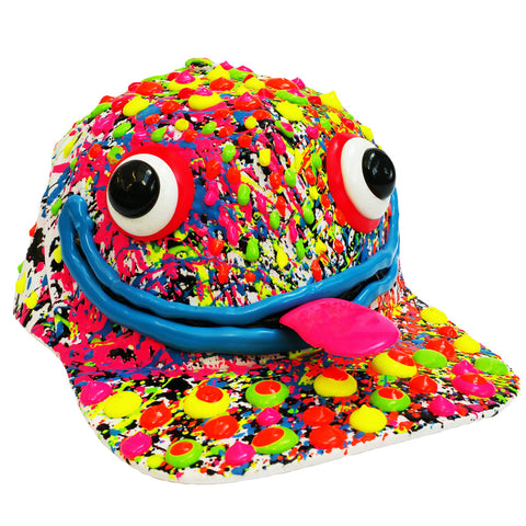 COUCHUK - UV REACTIVE - ART ON CAP WHITE/MULTI BLUE LIPS - Clubwear - PLUR - Rave clothing