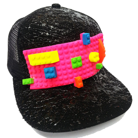COUCHUK - UV REACTIVE - BLOCK TRUCKER CAP BLACK - Clubwear - PLUR - Rave clothing