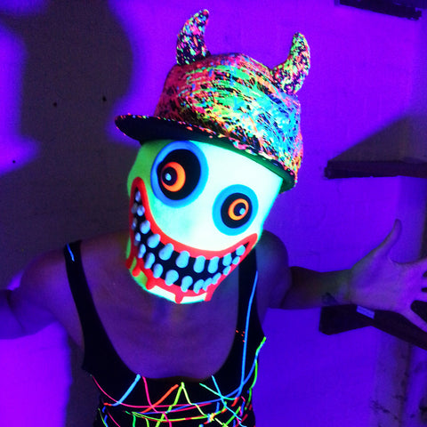 COUCHUK - UV REACTIVE - HORN CAP BLACK - Clubwear - PLUR - Rave clothing