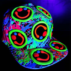 COUCHUK - UV REACTIVE - MULTI SQUIDGY CAP WHITE - Clubwear - PLUR - Rave clothing