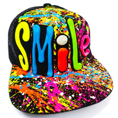 COUCHUK - UV REACTIVE - SMILE TRUCKER CAP BLACK - Clubwear - PLUR - Rave clothing