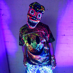 COUCHUK - UV REACTIVE - GRIN UNISEX T-SHIRT BLACK - Clubwear - PLUR - Rave clothing
