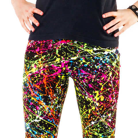 COUCHUK - UV REACTIVE - SPLAT LEGGINGS MULTI - Clubwear - PLUR - Rave clothing