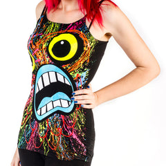 COUCHUK - UV REACTIVE - SCREAM SKINNY STRAP VEST BLACK - Clubwear - PLUR - Rave clothing