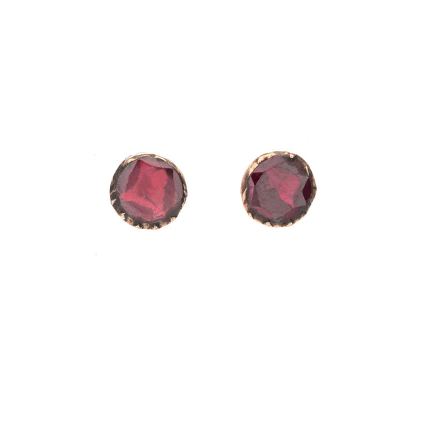 Georgian Foiled Flat-Cut Garnet Studs