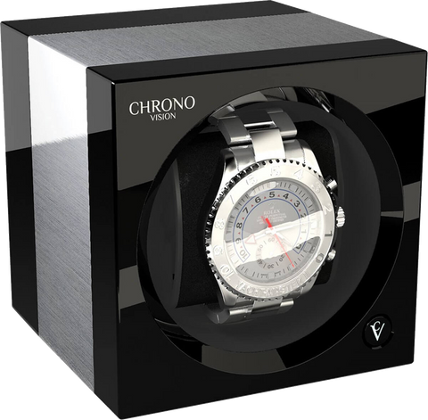 Chronovision 1 Single-Unit Watch Winder in Aluminum & Black Gloss