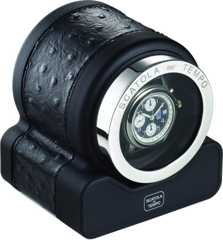 Scatola del Tempo RT1 HDG Single-Unit Watch Winder in Black Ostrich
