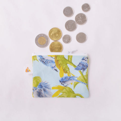 Coin Purse - Blue Jay and Sunflower
