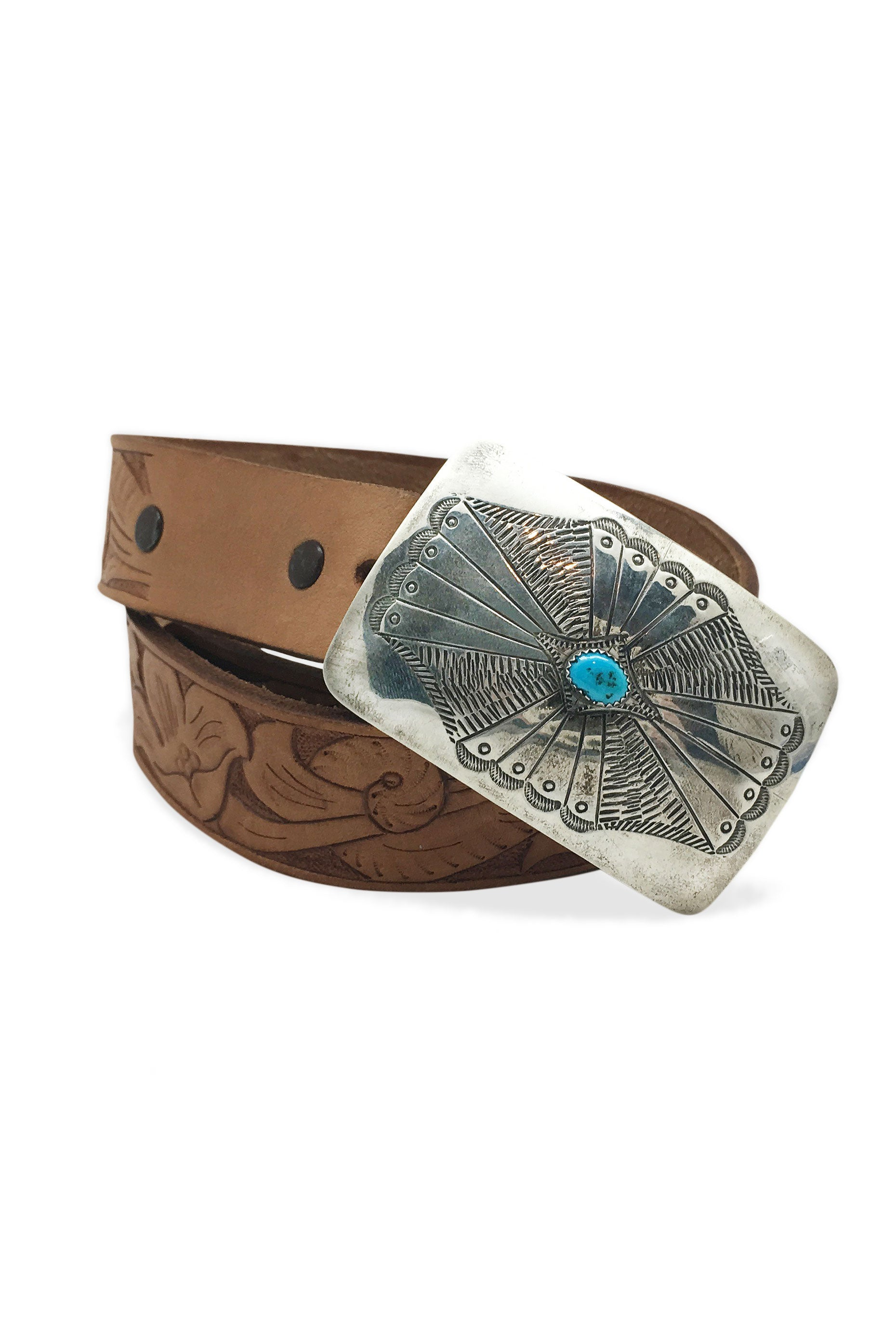 Belt Concho Buckle Turquoise Tooled Leather Strap Vintage 669