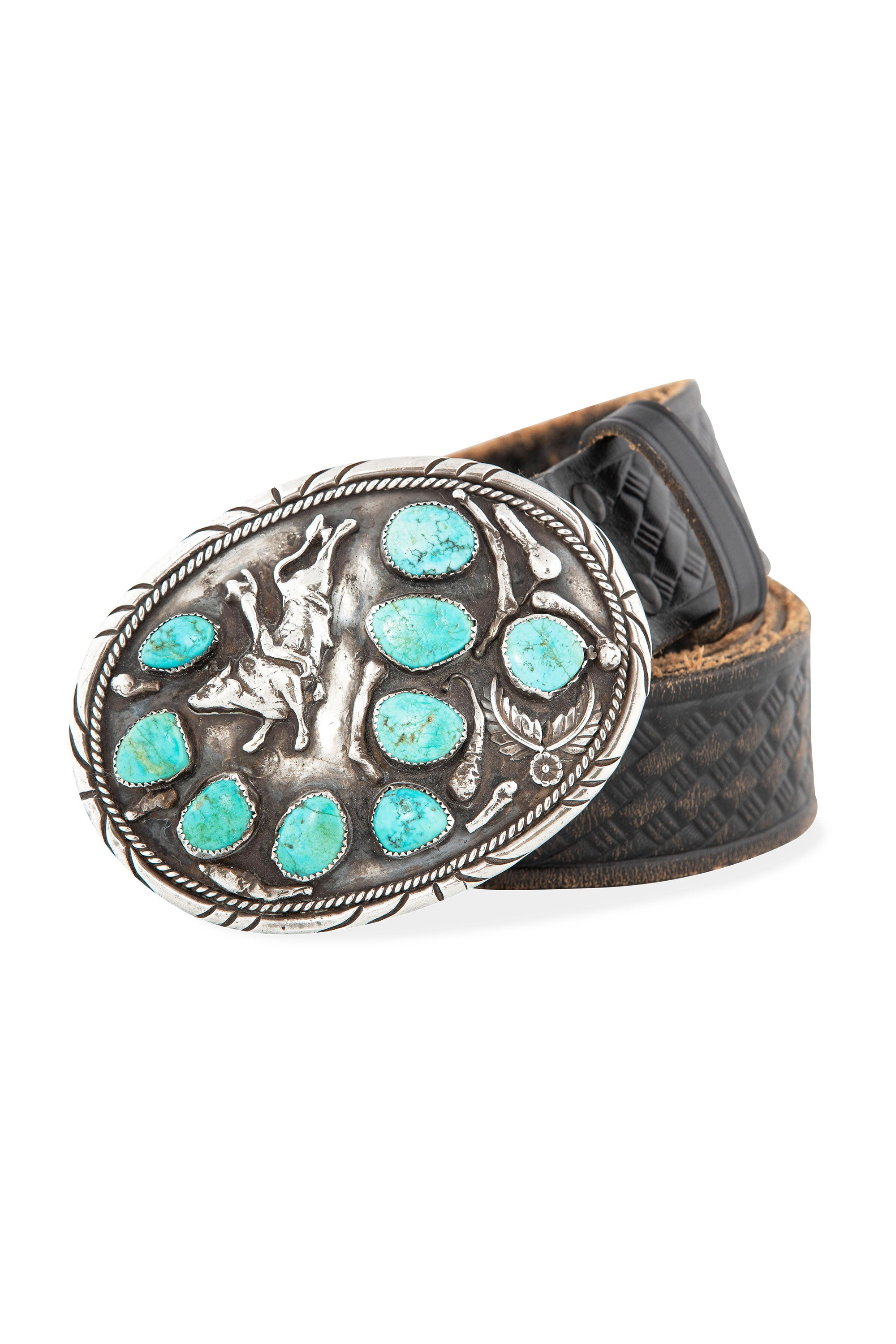 Belt, Buckle, Turquoise, Western Tooled Leather Strap, Vintage, 677