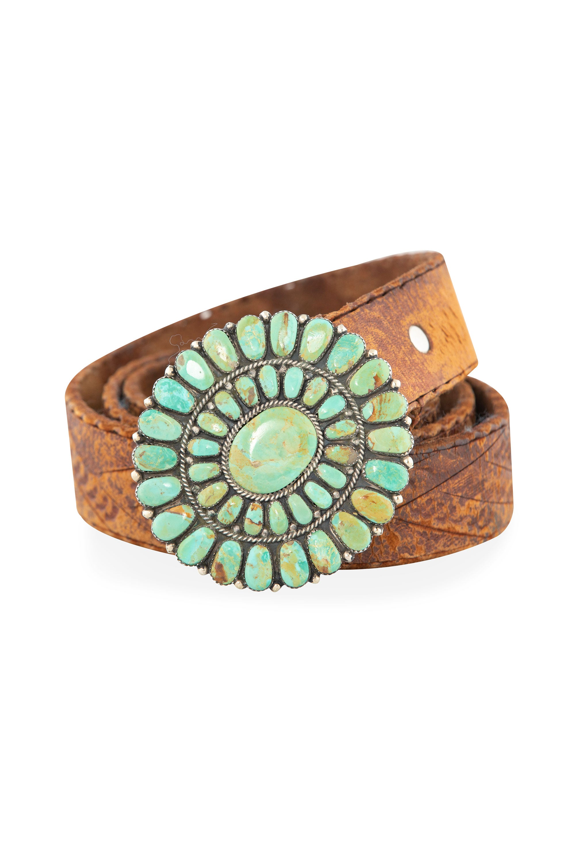 Belt, Buckle, Turquoise, Cluster, Tooled Leather Strap, Vintage, 662