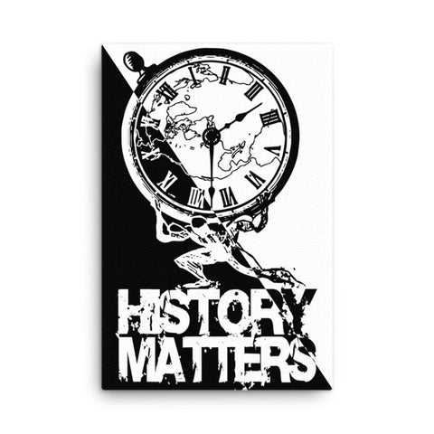 "CANVAS PRINT: ""History Matters"" with History Atlas graphic in diagonal B&W ying-yang style. - ExpressLiberty.com - Products for Libertarians, Conservatives, Patriots, and Objectivists."