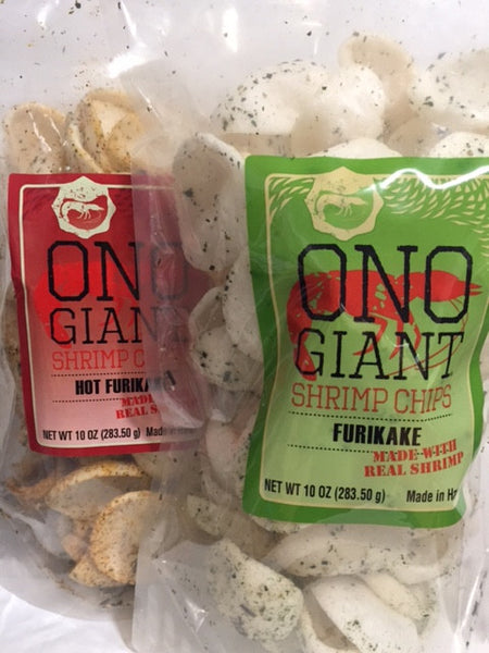 Two Ono Giant Shrimp Chip 10 oz bags - 1  Furikake & 1 Hot Furikake (Shipping Included)