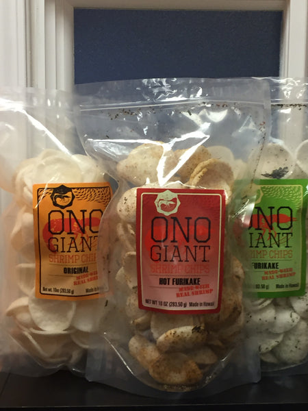 Four Ono Giant Shrimp Chips -10 oz bags (Shipping Included)
