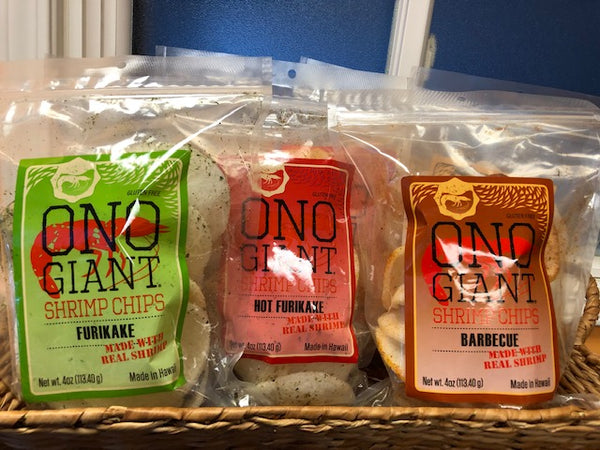 Four Ono Giant Shrimp Chip 4 oz bags (Shipping Included)