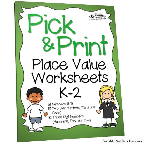 Kindergarten to Grade 1-2 Place Value Worksheets Cover