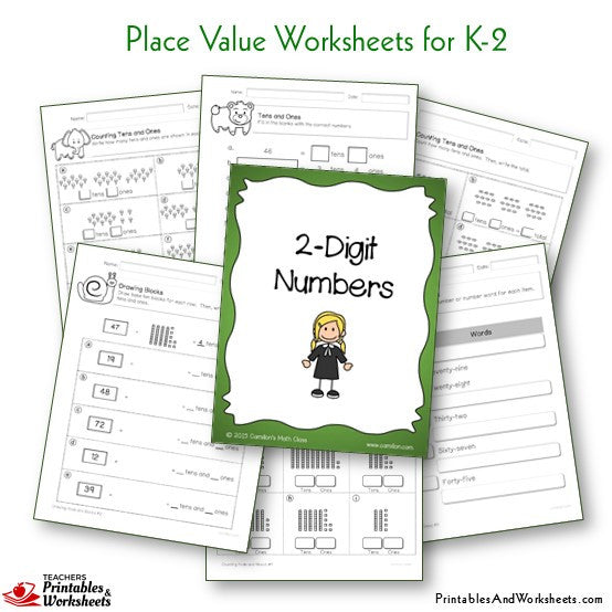 Kindergarten to Grade 1-2 Place Value Worksheets 2 Digit Numbers