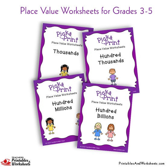 Grades 3-5 Place Value Worksheets Sets 1-4 Cover