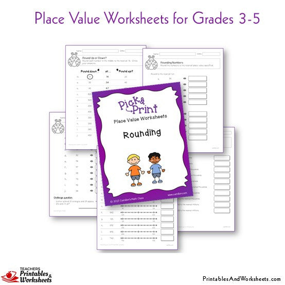 Grades 3-5 Place Value Worksheets Rounding Sample