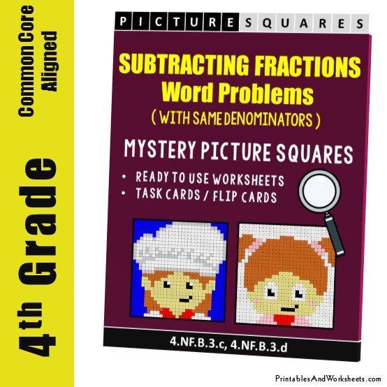 Grade 4 Subtracting Fractions Same Denominator Word Problems Coloring Worksheets / Task Cards
