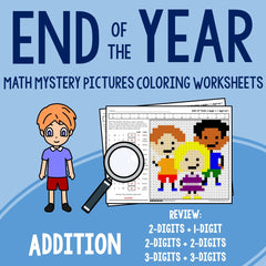 End of the Year Addition Coloring Worksheets