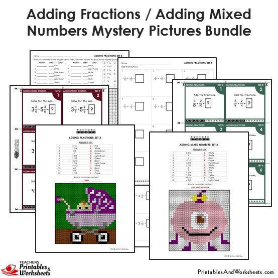 Grade 4 Adding Similar Fractions/Mixed Numbers Mystery Pictures Coloring Worksheets/Task Cards - Sample 2