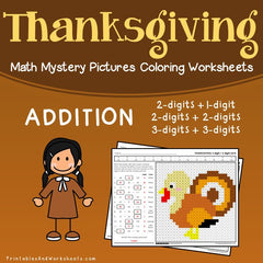 Thanksgiving Addition Mystery Pictures Coloring Worksheets