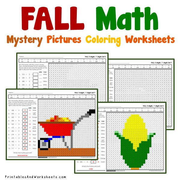 Fall/Autumn Coloring Worksheets - Division